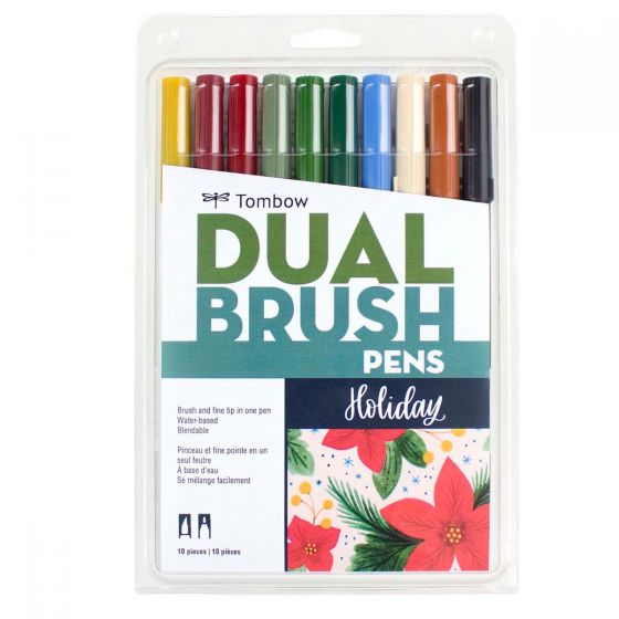 Tombow Dual Brush Pen and Artist Markers - Set of 10 - Holiday Palette by Tombow - K. A. Artist Shop