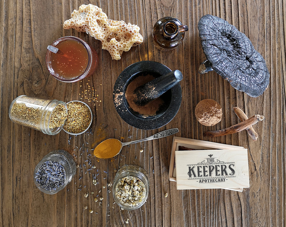 Different spices, herbs, extracts and superfoods that we blend into our The Keepers Apothecary Honey