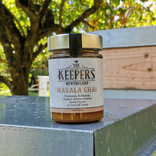 Load image into Gallery viewer, The Keepers Apthecary | Masala Chai Jar sitting on bee box | NZ Honey