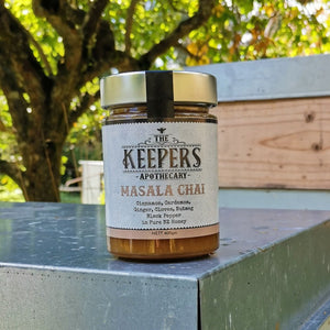 The Keepers Apthecary | Masala Chai Jar sitting on bee box | NZ Honey