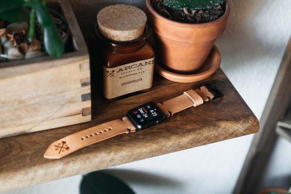arcane supply co natural leather watch band made in USA