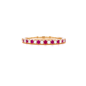 Semi Eternity Ruby & Diamond Ring