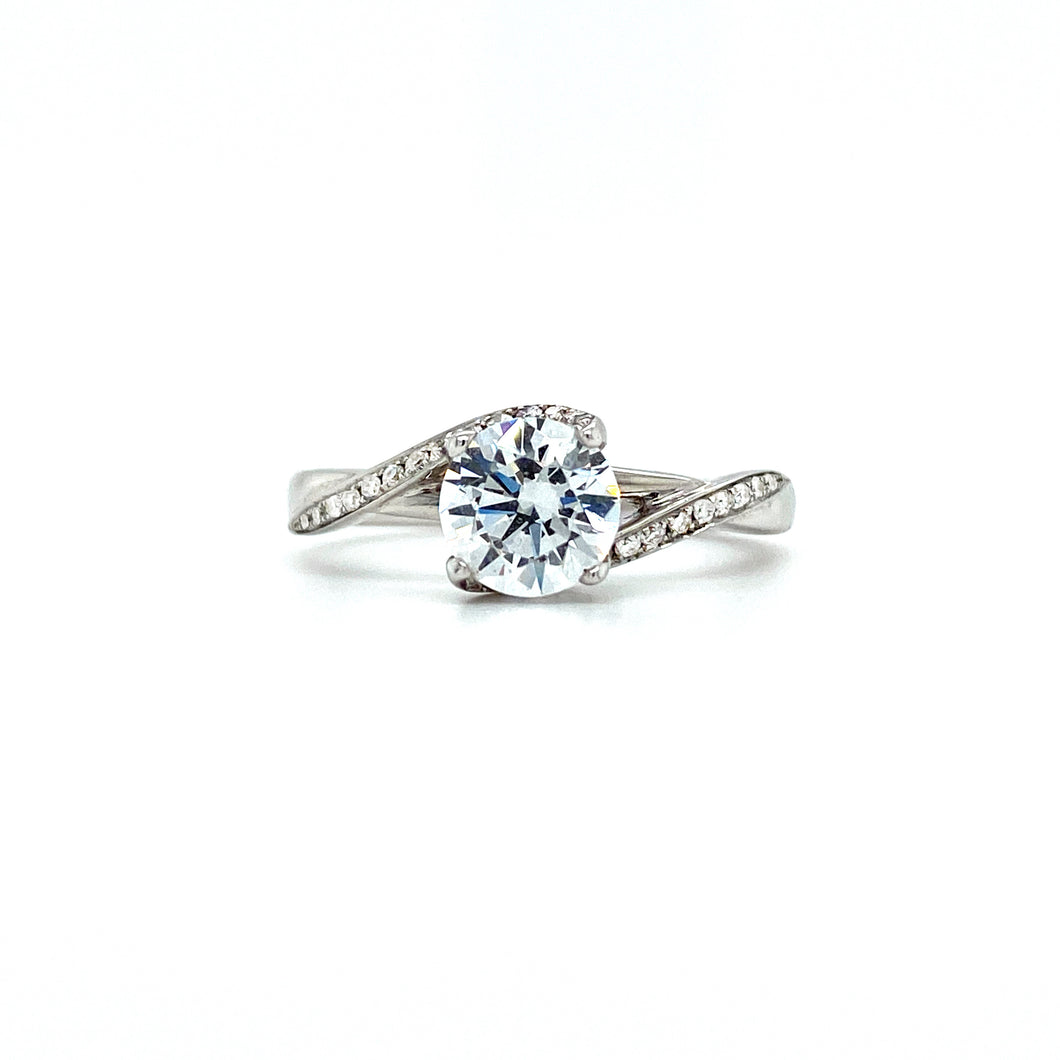 Micro Pave Infinity Solitaire Engagement Ring