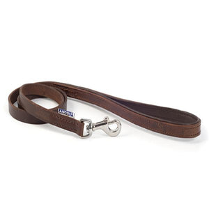 Ancol Vintage Leather Padded Lead Chestnut (Max 20kg)