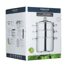 Load image into Gallery viewer, KitchenCraft Stainless Steel Three Tier 22cm Steamer
