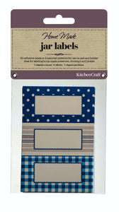Home Made Pack of 30 Jam Jar Labels - Stitched Stripes