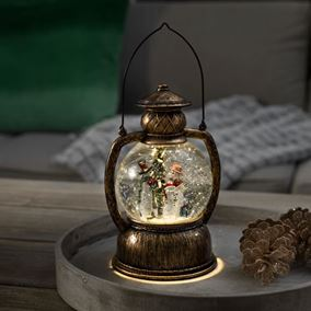 LED Lantern with Santa & Reindeer