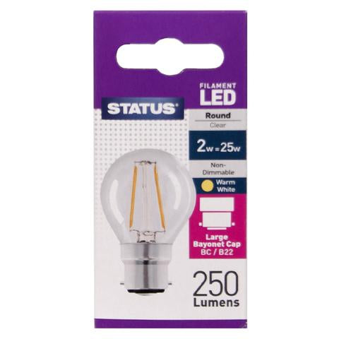Status 2W LED Round Warm White Clear B22
