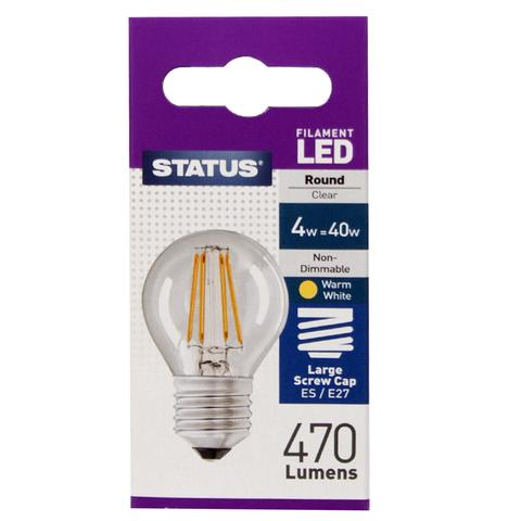 Status 4W LED Round Warm White Clear E27