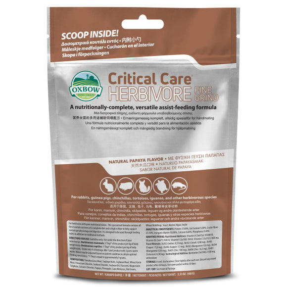 Oxbow Critical Care Herbivore Fine Grind Papaya Flavor (100g)