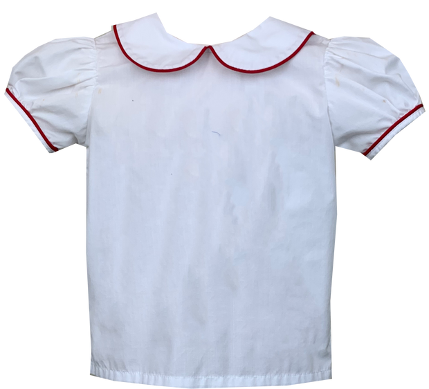Better Together Blouse - White / Red Piping - School Days
