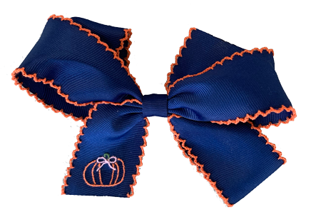 Hair Bow - Navy Pumpkin - Pick of the Patch
