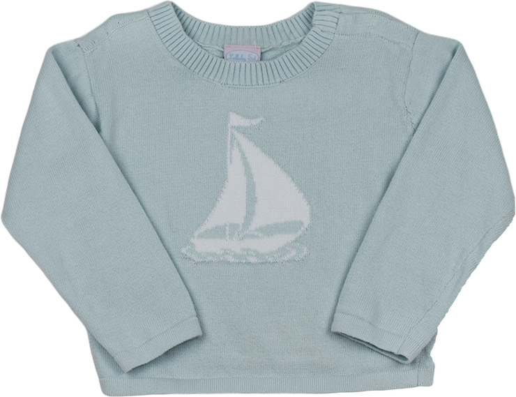 Cozy Up Sweater - Blue Sailboat