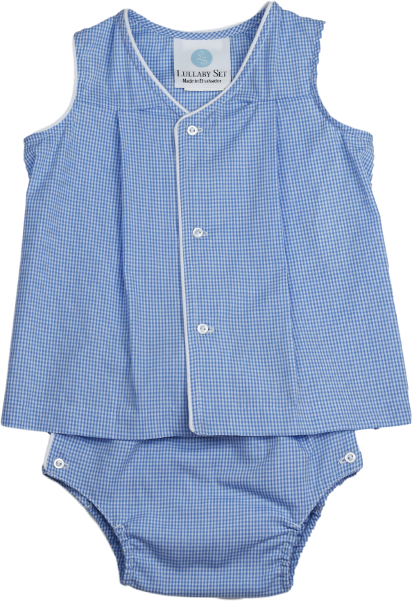 Jack Diaper Set - Blue Mini Gingham