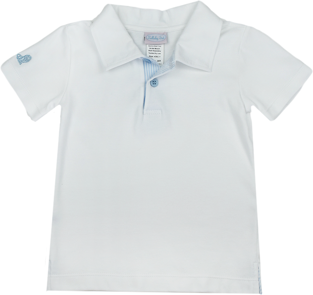 Parker Polo - White/Blue Seersucker