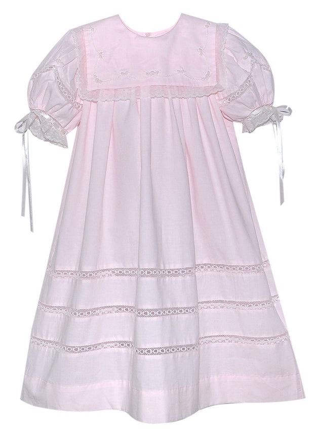 Elle Dress - Pink with Ecru Embroidery