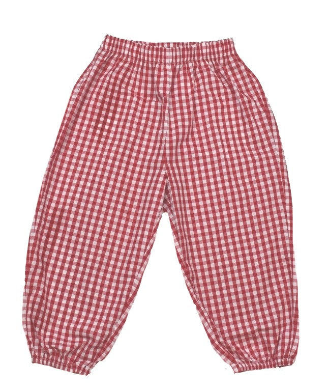 Garret Gathered Pant - Red Gingham - Cheer Proud