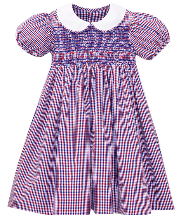 Kelli Dress - Red / Blue Plaid - Royal