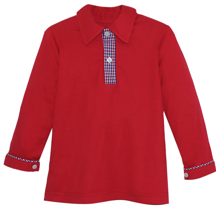 Prince George Polo LS - Red/Plaid - Royal