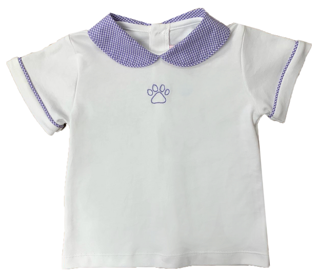 Sibley Shirt - White/Purple Gingham&Paw - Cheer Proud