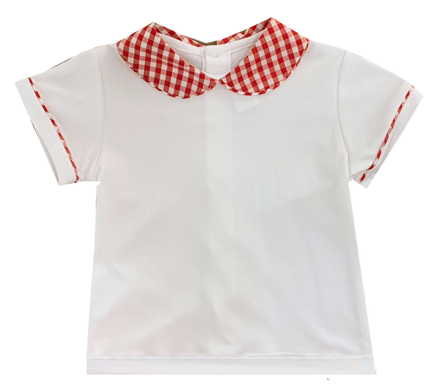 Sibley Shirt - White/Red Gingham - Cheer Proud