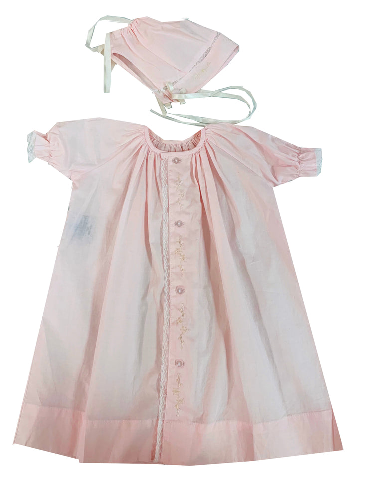 Vintage Daygown & Bonnet - Pink
