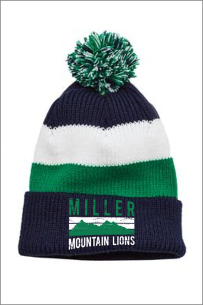 Miller Vintage Striped Beanie with Removable Pom