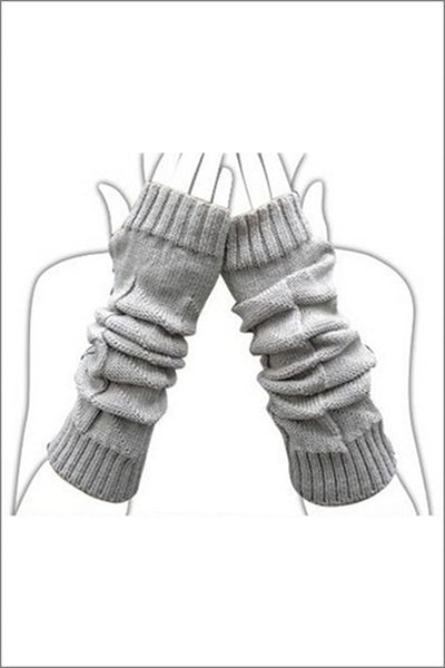TOPTIE Fingerless Long Gloves, Grey, Knitted Arm Gloves
