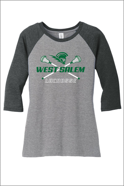 West Salem Lacrosse Tri Blend 3/4-Sleeve Raglan (Womens)