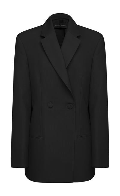 Black Double Breasted Virgin Wool Blazer