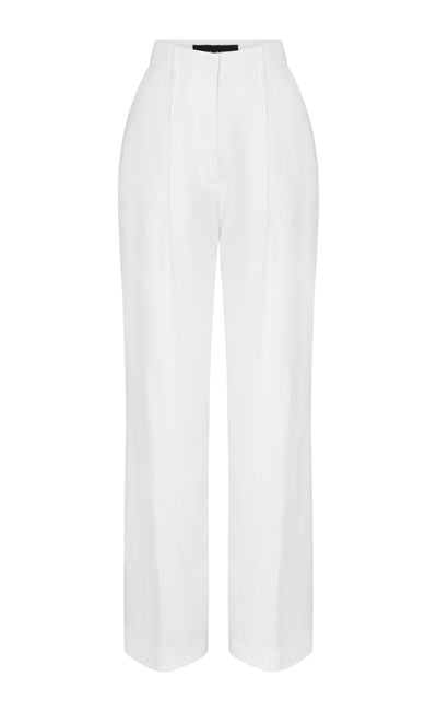 White Wide Leg Linen Boy Pant