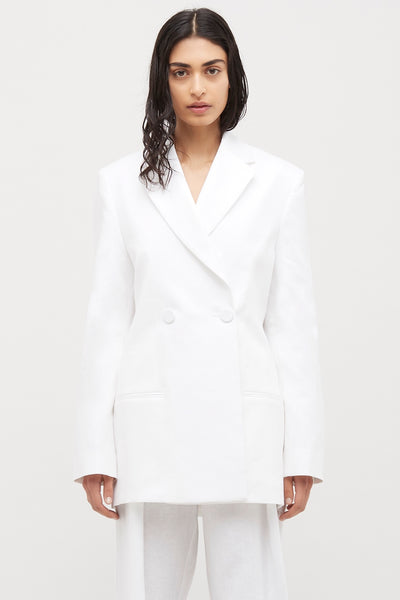 White Double Breasted Linen blazer