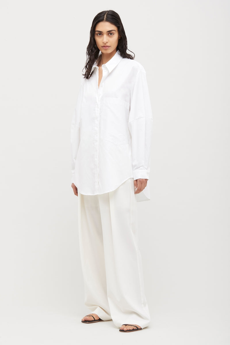 Ivory Wide Leg Wool Boy Pant