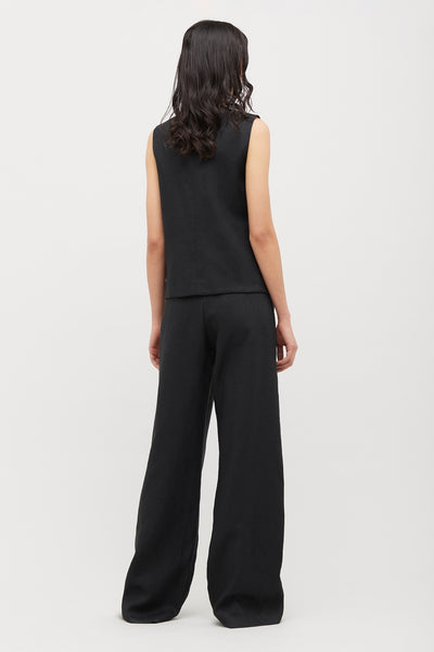 Black Wide Leg Linen Boy Pant