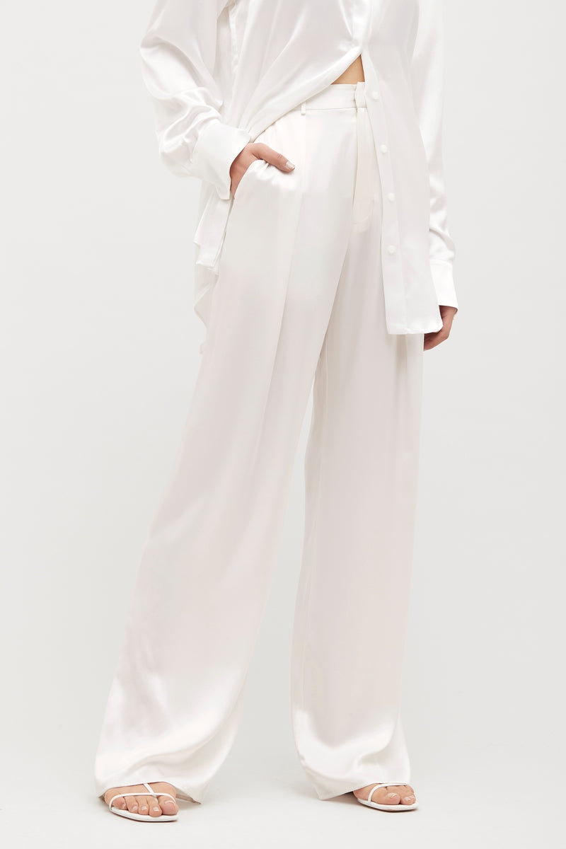 White Relaxed Silk Boy Pant