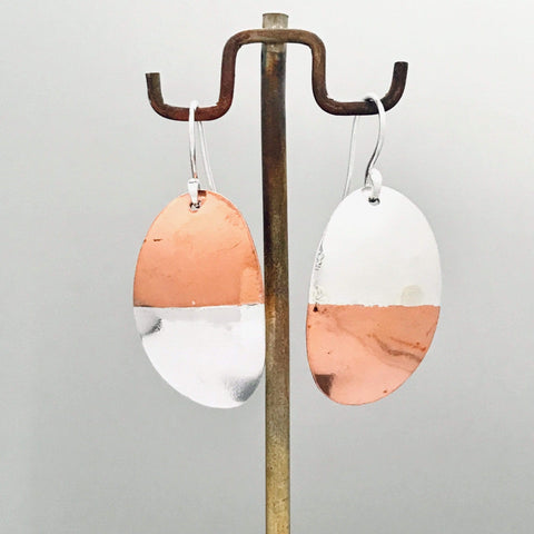 Lefler DesignStudio Oval Dangle Copper Silver Earrings earrings