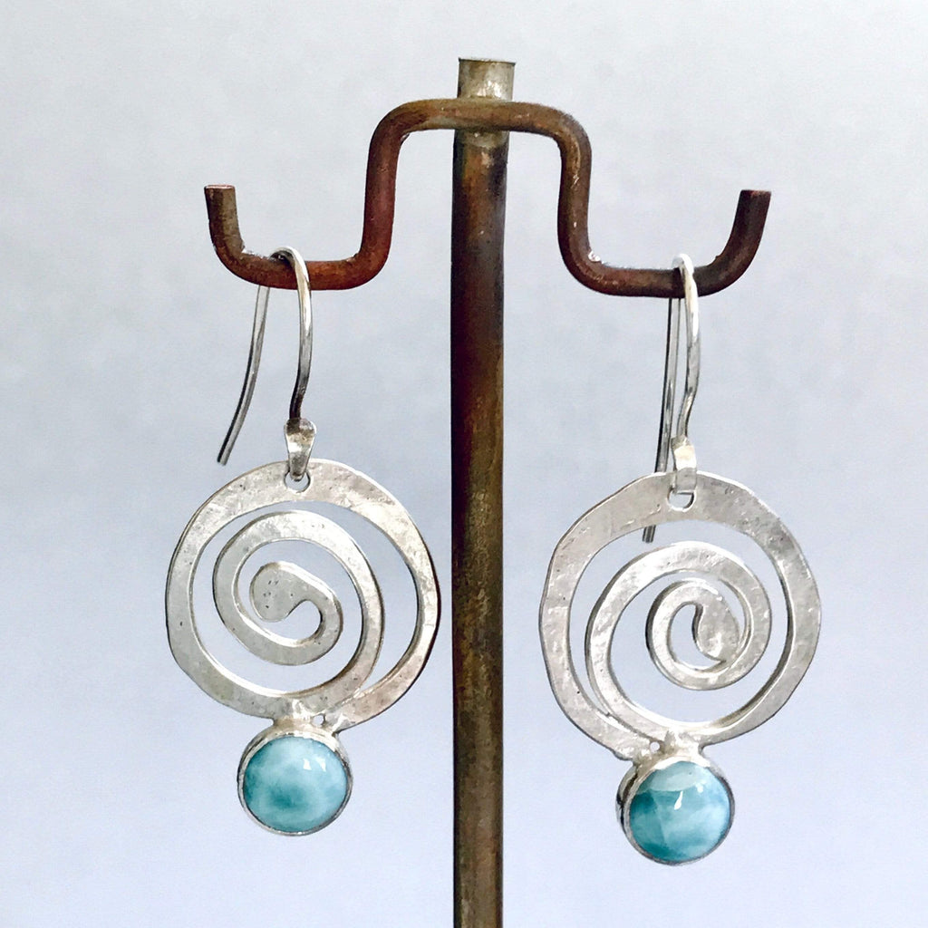Lefler DesignStudio Rolling Wave Larimar  Earrings earrings