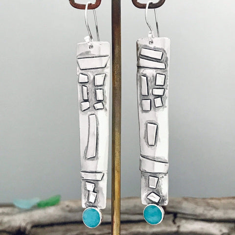 Lefler DesignStudio Tribal Mask with Amazonite Earrings earrings