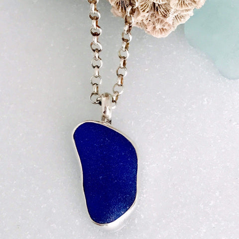 Lefler DesignStudio Cobalt Blue Peace Seaglass Necklace necklace