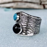 Lefler DesignStudio Onyx and Turquoise Ring ring