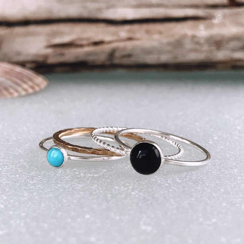 Lefler DesignStudio Turquoise and Onyx Stack Ring Set