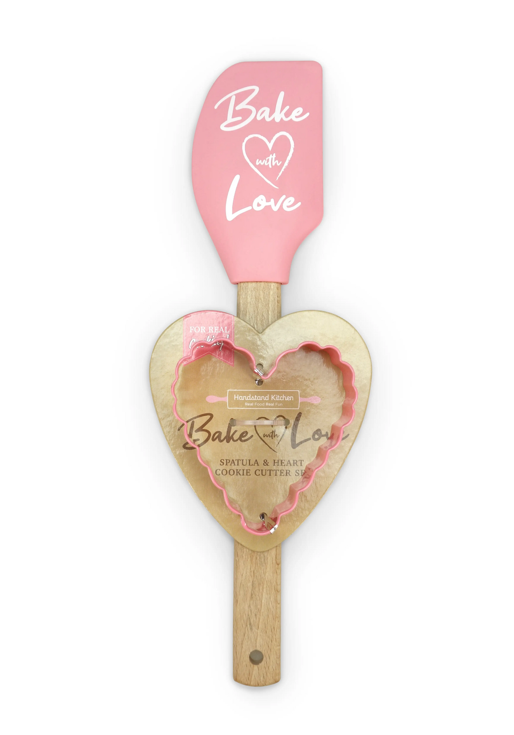Bake with Love Spatula & Heart Cookie Cutter