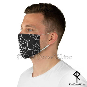 Spider Web Face Mask Halloween Goth Face Cover, Black Unisex Mask