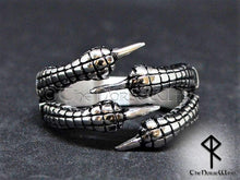 Load image into Gallery viewer, Viking Engagement Rings, Set of 2 Dragon Claw Handfasting Rings - TheNorseWind