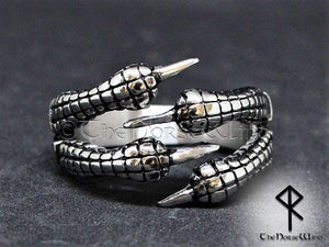 Viking Engagement Rings, Set of 2 Dragon Claw Handfasting Rings - TheNorseWind