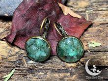Load image into Gallery viewer, aventurine crystal earrings, wicca jewelry good luck amulet healing crystals ear studs