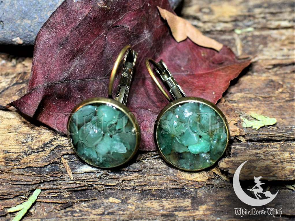 aventurine crystal earrings, wicca jewelry good luck amulet healing crystals ear studs