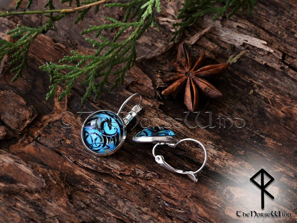 Handcrafted Dragon Earrings, Viking Ear Studs, Blue Earrings Celtic Knot Viking Jewelry Silver Celtic Jewelry Norse Mythology TheNorseWind