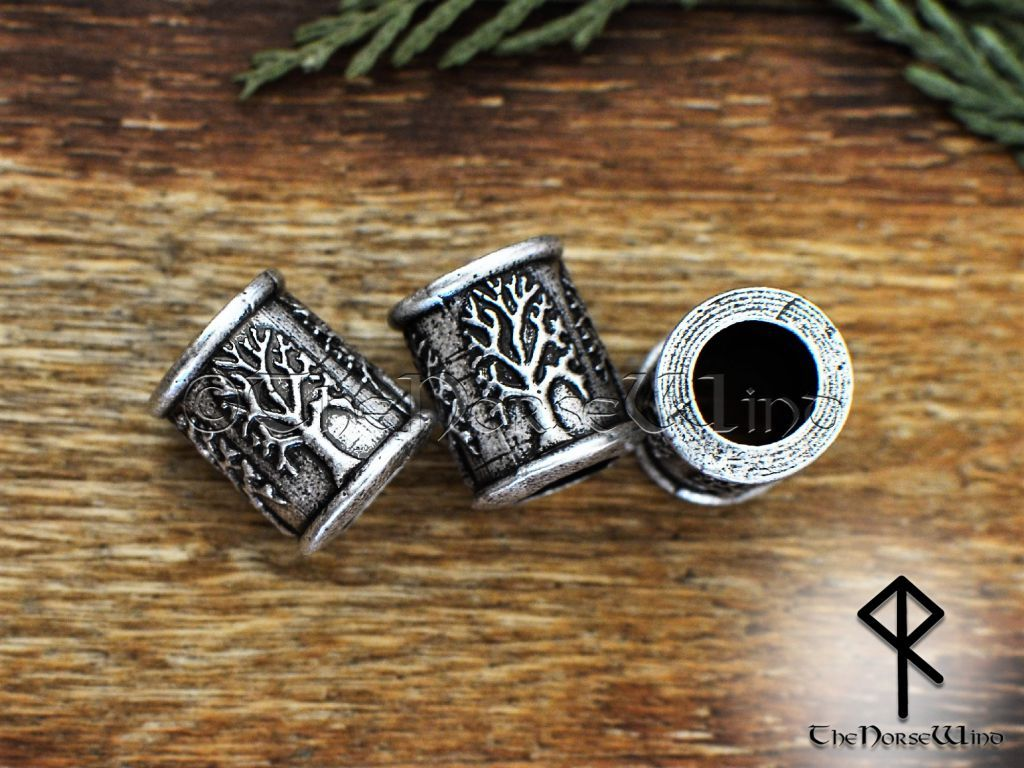 Yggdrasil Viking Beard Beads, Celtic Tree of Life Hair Rings - TheNorseWind