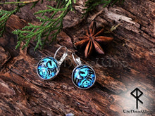 Load image into Gallery viewer, Celtic Dragon Earrings, Viking Ear Studs, Blue Earrings Celtic Knot Viking Jewelry Silver Celtic Jewelry Norse Mythology TheNorseWind